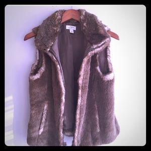 Ann Taylor LOFT  Faux Fur Beige Vest